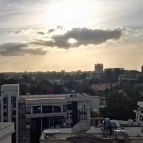 Sun nearing its setting over Nairobi.