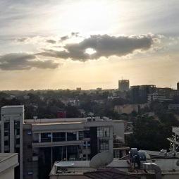 Sun nearing its setting over Nairobi.